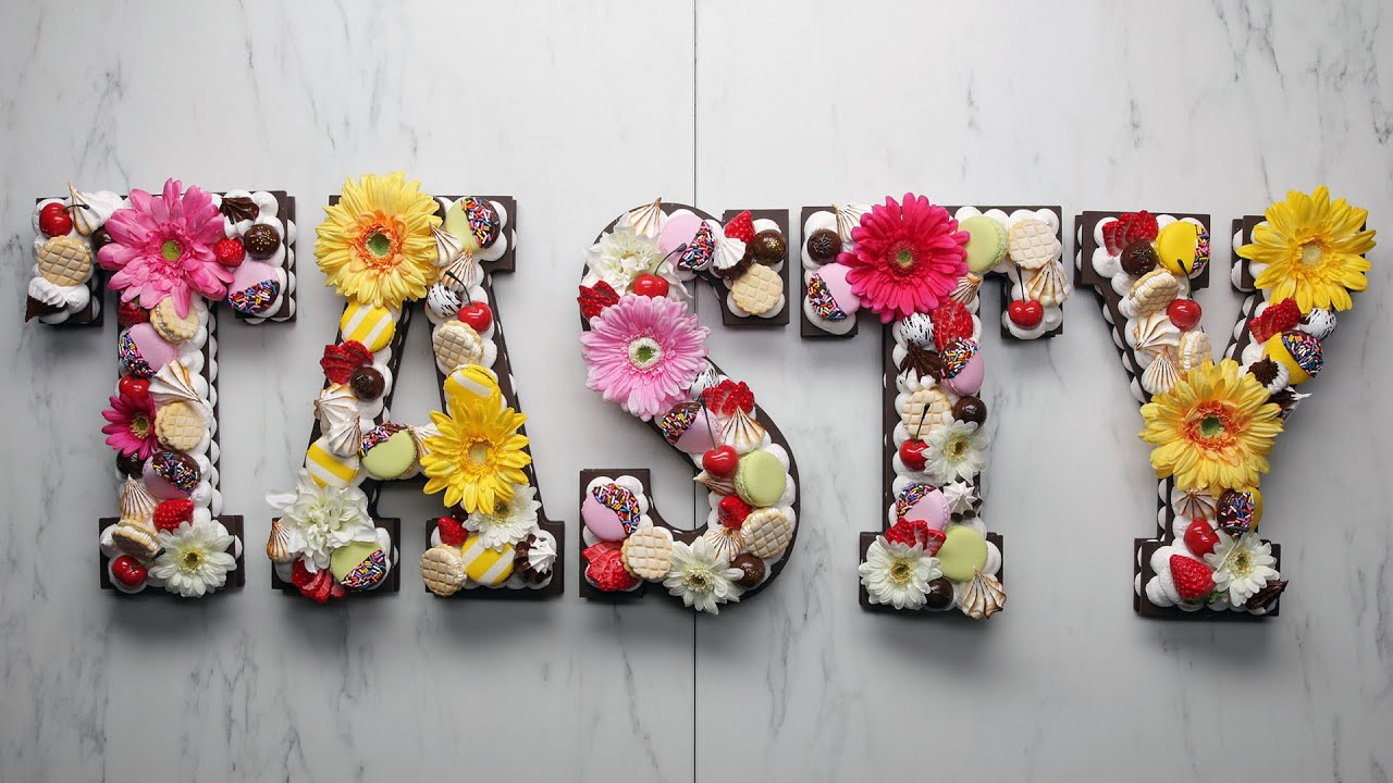 """Cookie Letter Cake"" As Made By @FauxSweets • Tasty - YouTube"