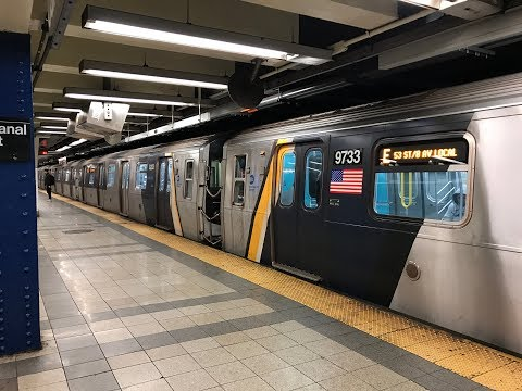 NYC Subway HD 60fps: Evening A, C, E, & F Train Action @ Canal Street (12/5/18)