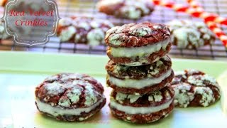 Red Velvet Crinkles With Cream Cheese Filling