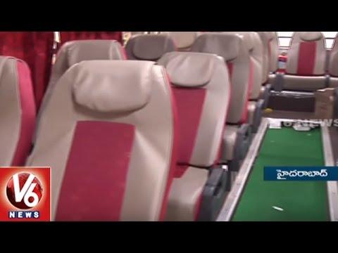 Inside View Of TSRTC Vajra Mini AC Bus    V6 News