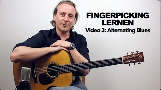 Fingerpicking lernen auf Deutsch - Video 3 - Alternating Blues