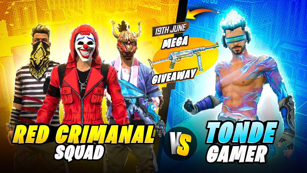 Red Criminal Squad Vs Tonde Gamer Best Clash Battle - Garena Free Fire Crazy Bunny Mp40 Giveaway