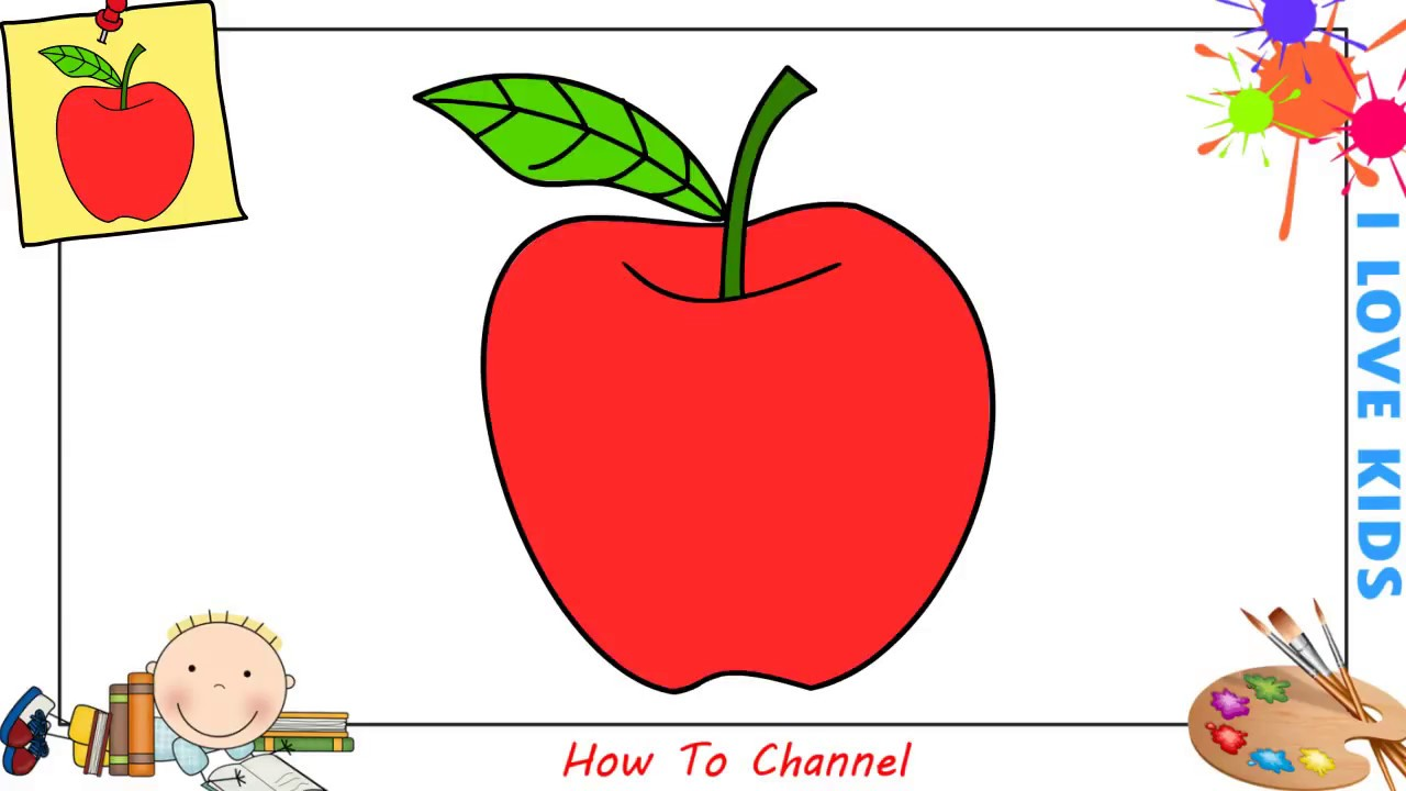 How To Draw An Apple Easy Step By Step For Kids Beginners Children