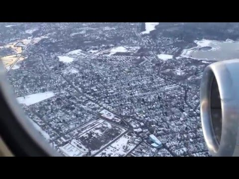 Snowy Landing at Boston Logal International Airport from the Window Seat ★★★★★