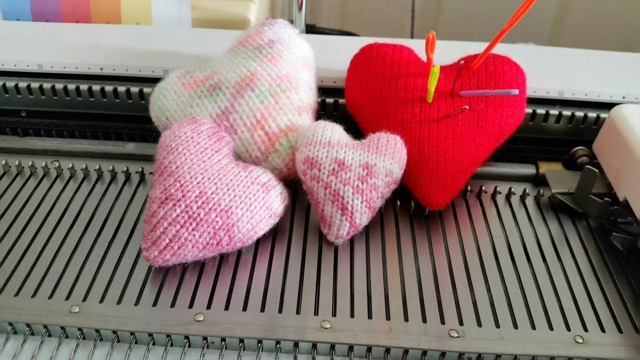 Machine Knit Heart Pillows by Diana Sullivan - YouTube