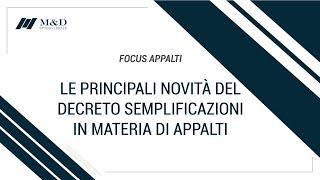 Prima parte webinar: Principali novità del decreto semplificazioni in materia di appalti-Avv.Coccoli