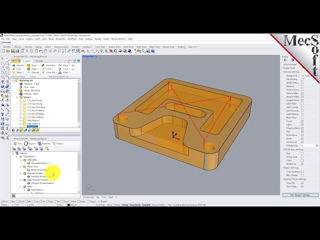 RhinoCAM 2021 Automatic Feature Machining (AFM) Quick Start