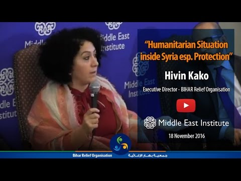 Hivin Kako speaks about humanitarian situation inside Syria, focusing on protection