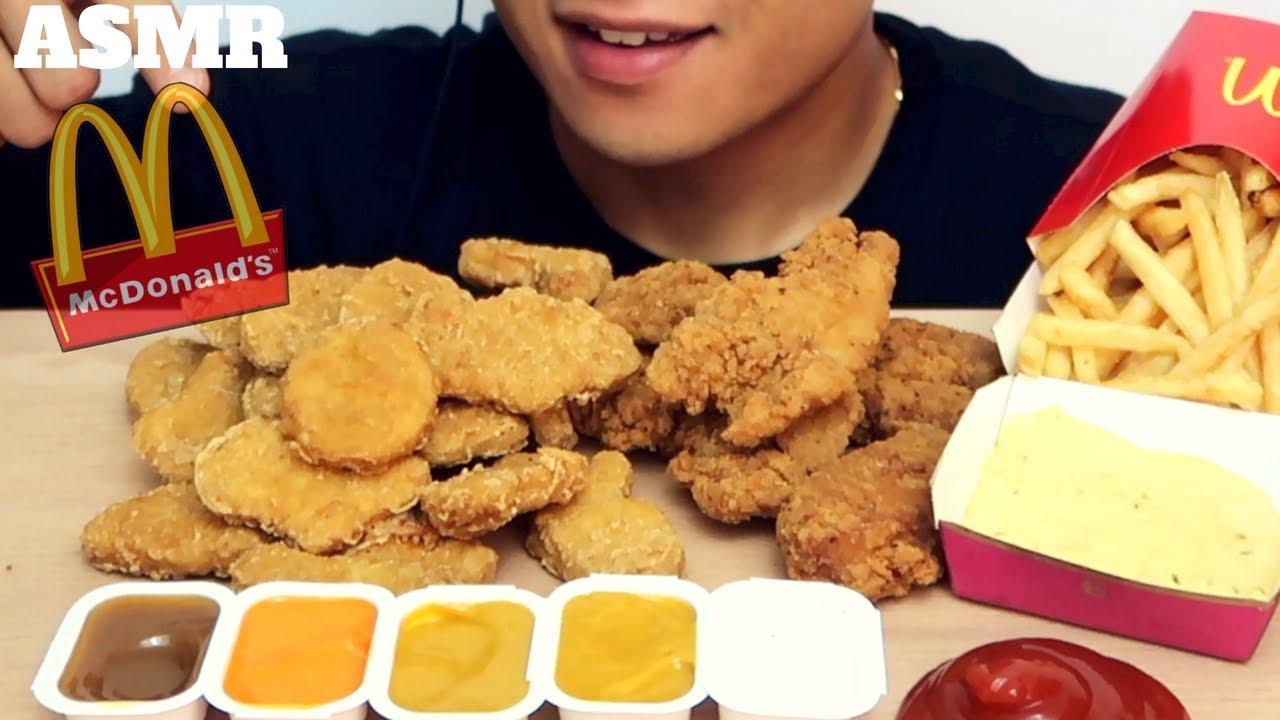 Asmr Crunchy Chicken Nuggets Tenders Fries Big Mac Sauce Mcdonalds Intense Eating Sounds