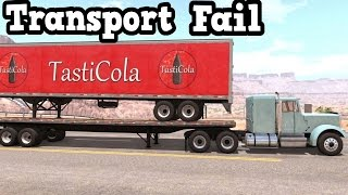 BeamNG Drive -  Loaded Dry Van Trailer on a Flatbed Trailer Transport Fail