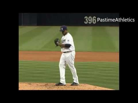 Edinson Volquez Pitchng Slow Motion  TWO ANGLES Front/Side Views MLB Baseball Mechanics Clip