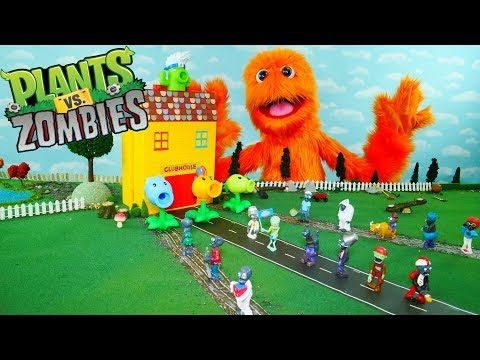 Plants vs Zombies Part 3 🧟🌱 Pretend Play with Fuzzy Puppet