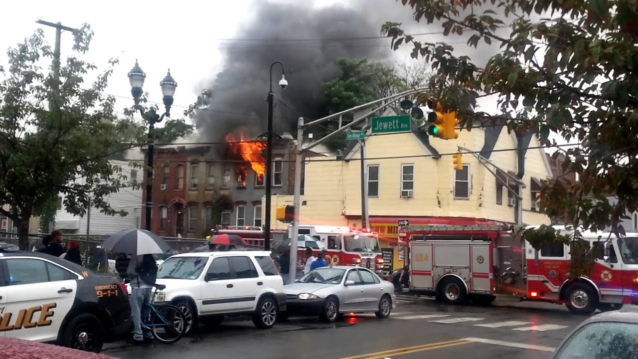 Fire on Jewett Ave in Jersey City, New Jersey