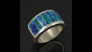 Lab Opal Ring in Sterling Silver by Hileman