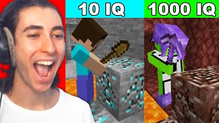 Reacting to 1000 IQ plays vs 10 IQ plays in Minecraft...