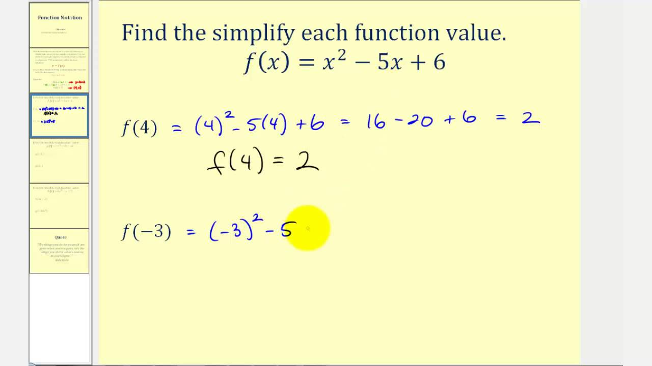 small resolution of Function Notation - Examples (solutions