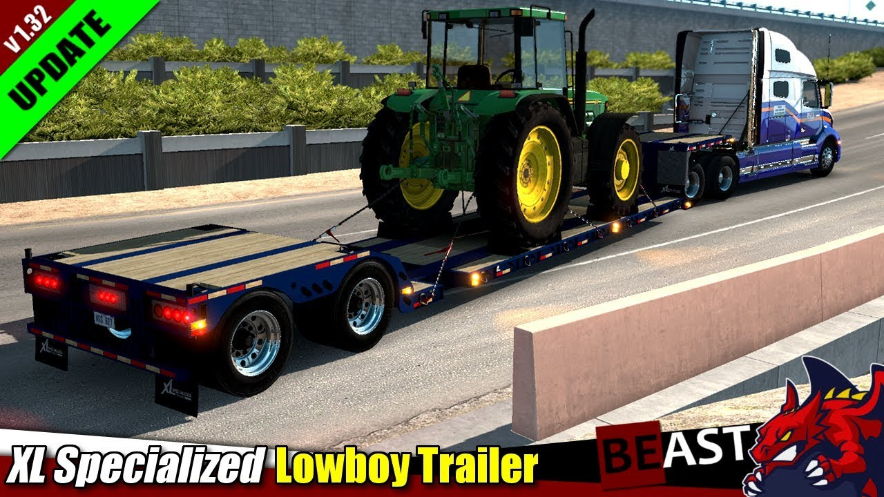 ATS (1 32b) | trailer mod XL Specialized Lowboy Trailer (upd: for 1 32) by  axelrol - review