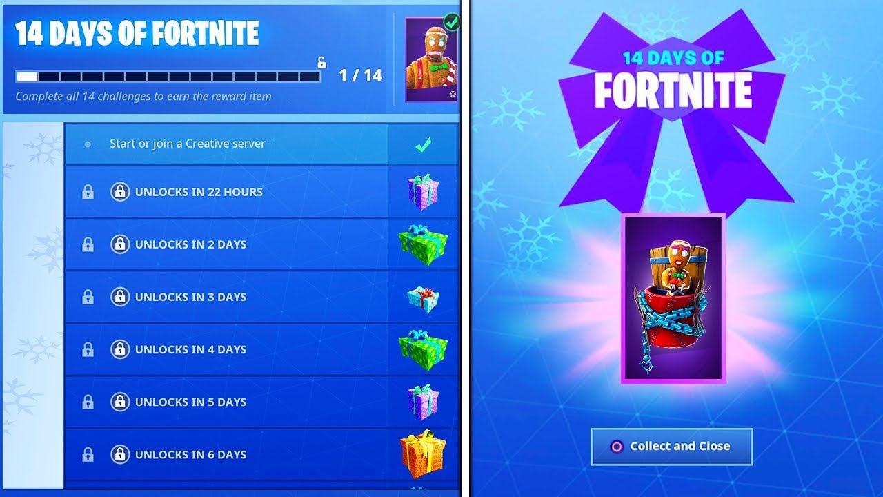 The Free Daily Rewards In Fortnite New 14 Days Of Fortnite Challenges