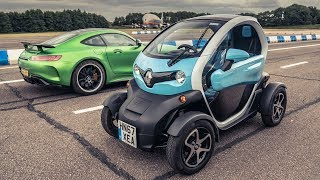 Mercedes-AMG GT R (IN REVERSE!) vs Renault Twizy | Drag Races | Top Gear