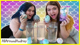 Mermaid Bath Bomb Challenge Ft. KittiesMama / AllAroundAudrey