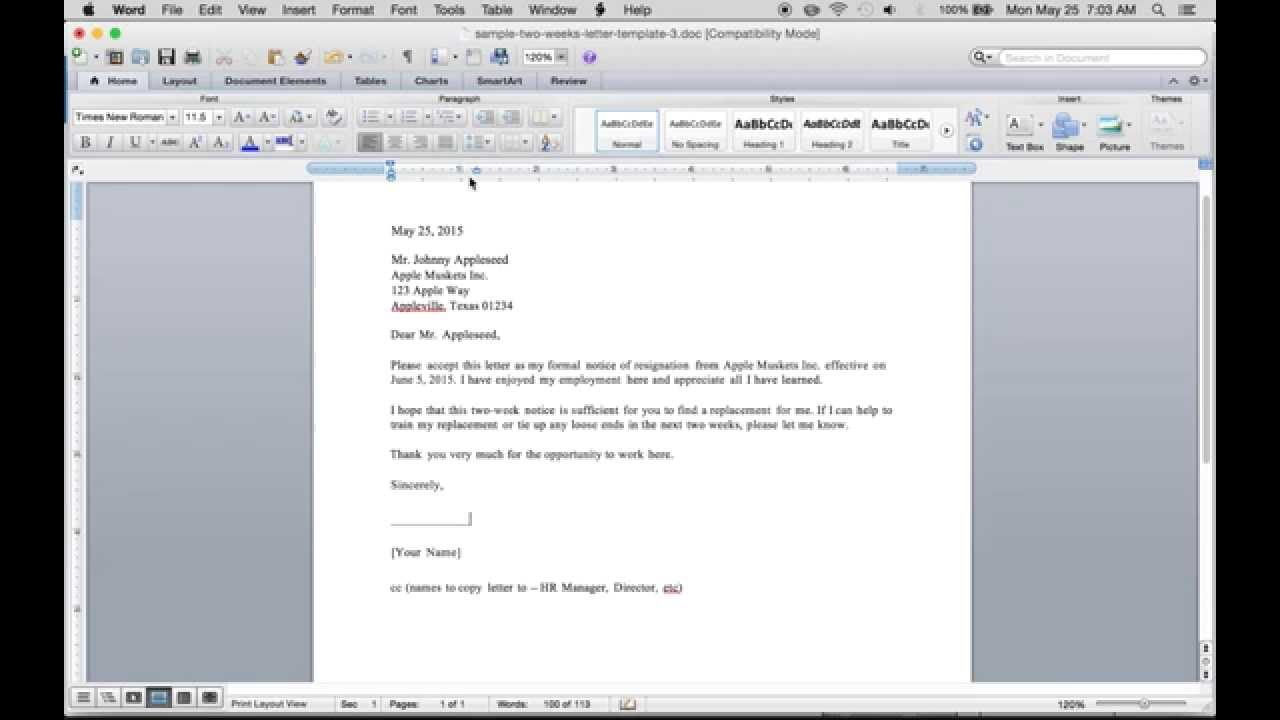 Write A Free 2 Weeks Resignation Letter | PDF | Word   YouTube