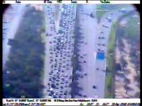 Abu Dhabi Traffic Police monitors traffic jam from the air