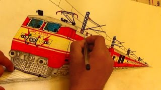 WAP1 Locomotive Sketching in 9 minutes [ INDIAN RAILWAYS ]