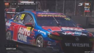 Dunlop Super2 Series 2017. Race 2 Adelaide Street Circuit. Start Crash