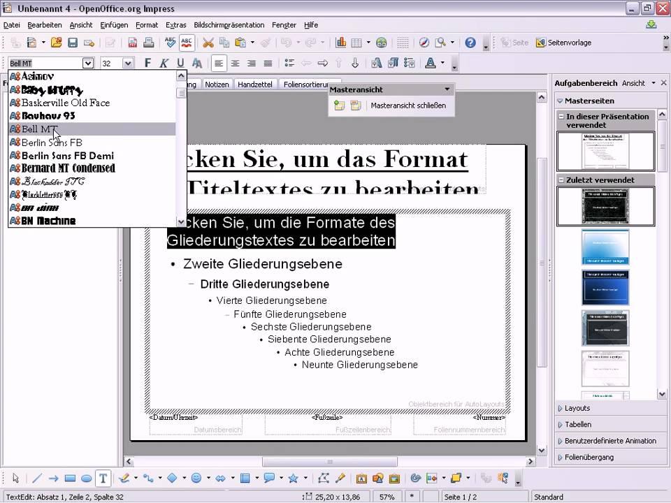 OpenOffice Impress Master anpassen - YouTube