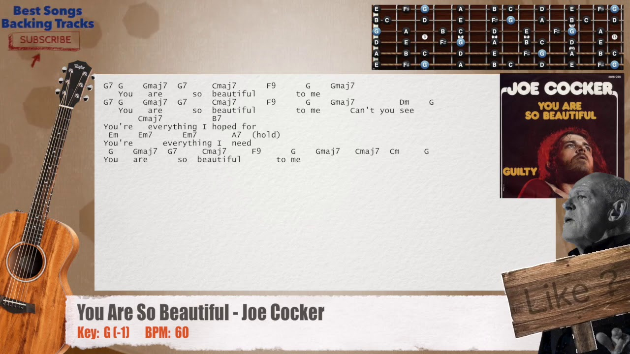 You Are So Beautiful Joe Cocker Guitar Backing Track With Chords