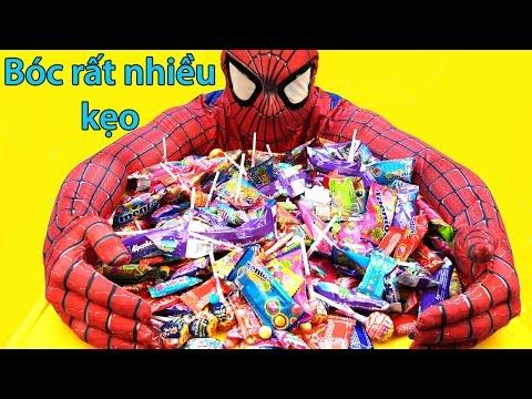 cùng người nhện bóc kẹo,rất nhiều kẹo màu sắc,dâu,nho,chupa chups,big babol #New a lot of candy 2016