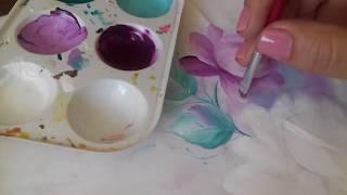 Pintura em tecido. Aprenda pintar botões, rosa virada, folhas e o fundo