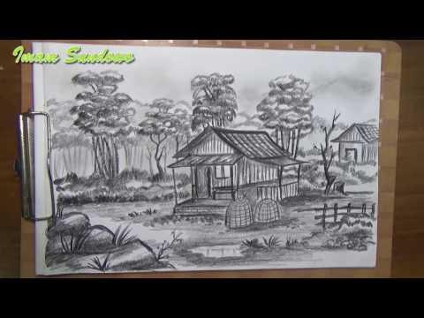 Menggambar Pemandangan Rumah Tua Menggunakan Pensil