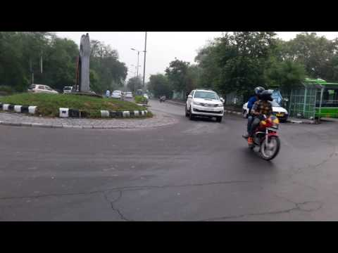 Cleaning road in delhi