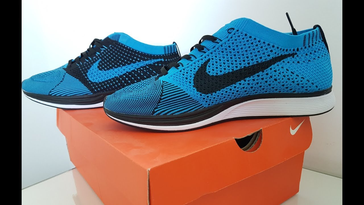 check out f0547 7a298 Nike Flyknit Racer Blue Black - (Unboxing)