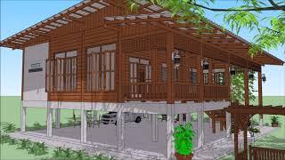 บ้านครึ่งตึกครึ่งไม้ ยกพื้น สินีนารถ EP. 2 ( No. 112 ) SketchUp by : i. pakdee
