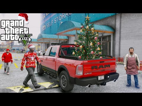 ANOTHER DAY AT WORK #32 GTA 5 REAL LIFE MOD CHRISTMAS TREE SHOPPING WITH FRANKLIN - DODGE RAM REBEL