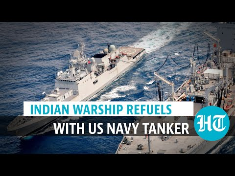 Watch: INS Talwar undertakes refueling with US Navy tanker in Arabian Sea