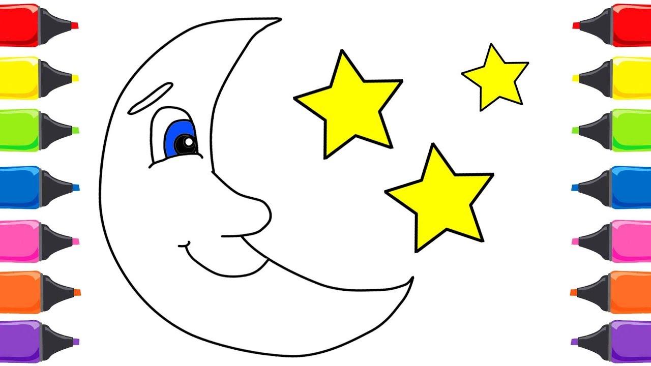 Ay Yıldız Boyama Renkleri öğreniyorum çocuklar Için Boyama Sayfaları