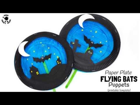 Paper Plate Bat Puppet Craft & Paper Plate Bat Puppet Craft - YouTube
