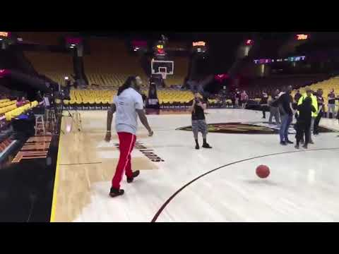 2 Chainz getting jumpers up before Game 4 in Cleveland between Cavaliers and Celtics