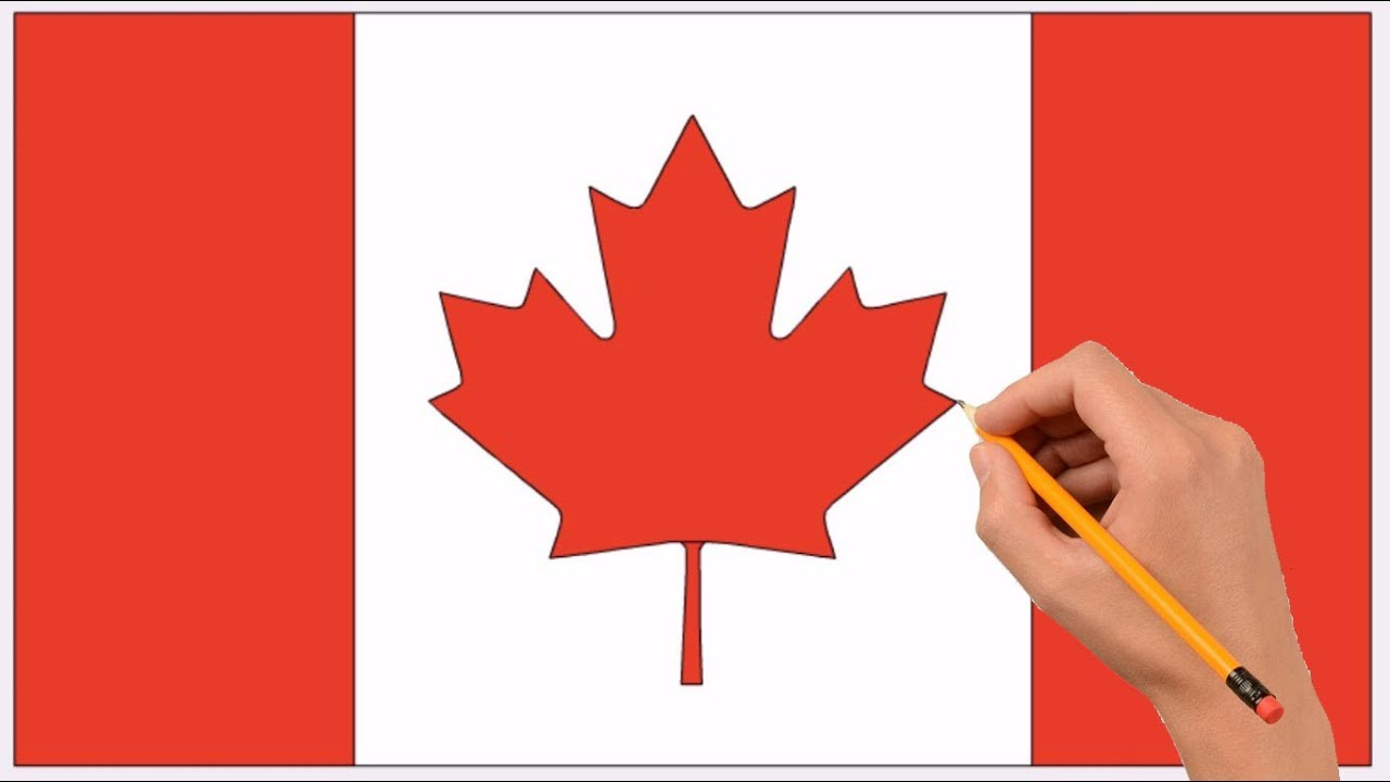 - How To Draw A Canada Flag Step By Step Easy Coloring Book Page