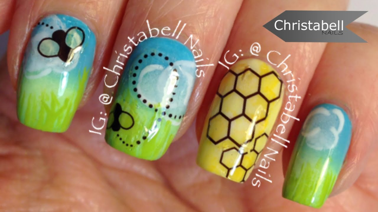 Christabellnails spring bumblebee nail art tutorial youtube prinsesfo Image collections