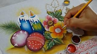 Pintura Motivos Natalinos, Rosas Silvestres e Folhas Negativas – Parte 2