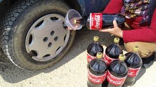 COCA COLA'YI TEKERE HİÇ HAVASIZ FUL DOLDURUP Şehre GİTTİK Experiment COCA Cola vs WHEEL