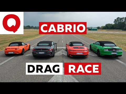 Mazda MX-5 Vs BMW 850i Vs Porsche 911 Vs Ford Mustang DRAG RACE (+ Roof Race)