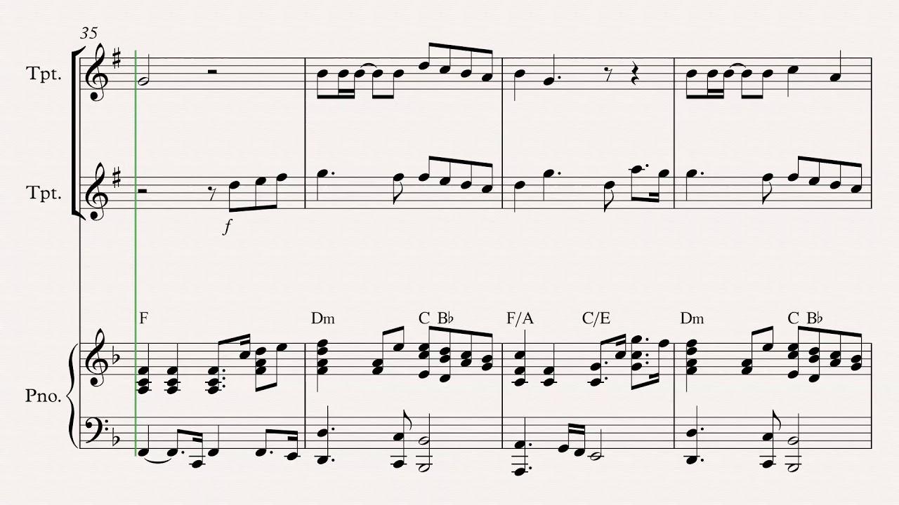 Tu me levantas - Trompeta a duo con Piano ( con notas)