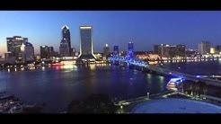 Fly Over Jacksonville FL River Walk at Sunset.