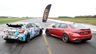DRAG RACE! Alfa Romeo Giulia Quadrifoglio VS Mercedes A45 AMG!