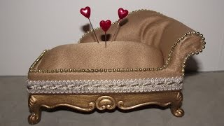 Altered Miniature Chaise Lounge Pin Cushion